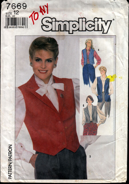 Vintage sewing pattern 1980s vests Penelope Rose at Artfire