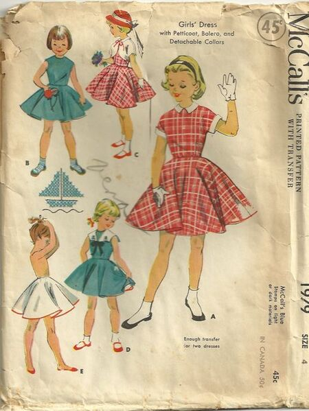 McCalls 1979 Girls Dress, Petticoat, Bolero and Detachable Collars