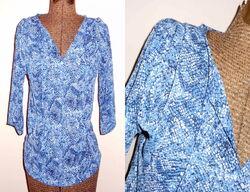 Blue Snake Print Blouse