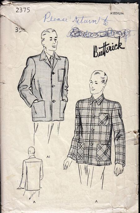 Penelope Rose vintage sewing patterns 1940s Men's sports jacket