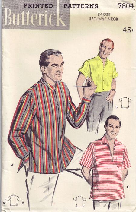 C1956 7804 Butterick Men Shirt