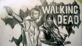 TV Movie Series The Walking Dead Rick Grimes & Daryl Dixon Time Lapse Drawing