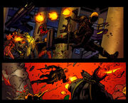 A picture of two panels from the comic, one above the other. In both panels Wesley is shooting everyone.