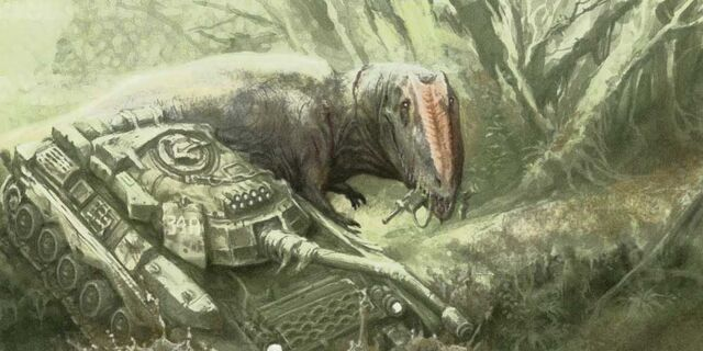 File:Gigantosoaurus vs Tank by IRIRIV.jpg