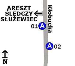 Schemat rozmieszczenia przystanków w zespole Areszt Śledczy Służewiec