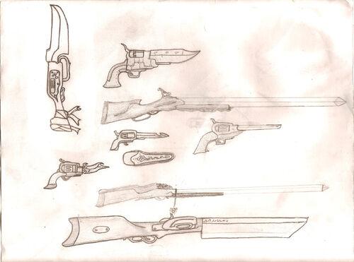 Konzeptzeichungen des Dixieländischen Waffenherstellers Godhand Inc.