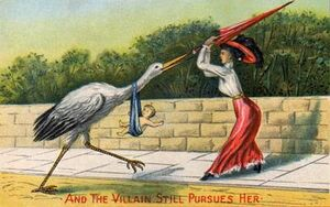 Stork with baby Woman Mad