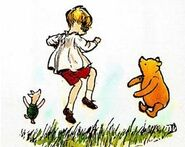 Christopher Robin, Piglet, and Pooh Jumping