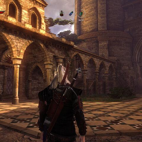 The monastery courtyard in front of the main door