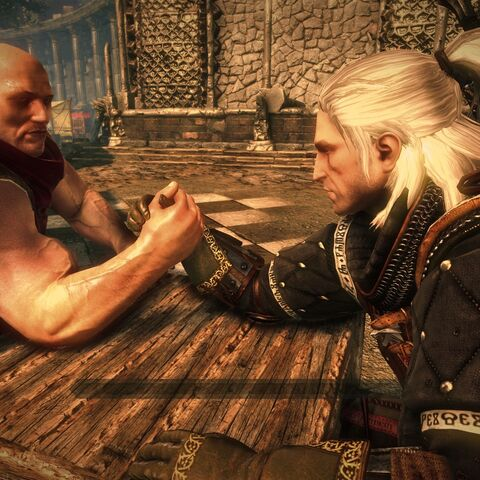 Geralt arm wrestling The Mighty Numa