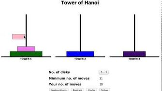 Tower of Hanoi - 5 disks - 31 moves