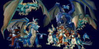 Blauer Drachenschwarm