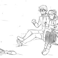 Yandere-chan hugging Senpai after killing Osana in