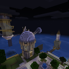 Fumblemore's Tower at night, along with an observatory
