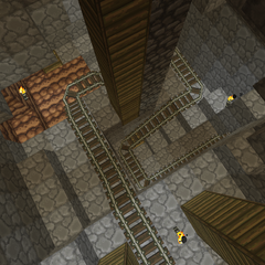 The first section of the mines consists of a spiralling minecart track.