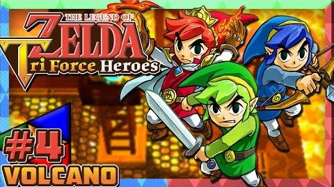 The Legend of Zelda Triforce Heroes 3DS - Part 4 Volcano & Fire Temple (3-Players)