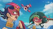 Yuma and Tori disguised as D.D. ESPer Star Robin