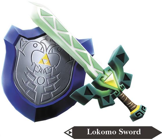 File:Hyrule Warriors Legends Light Sword Lokomo Sword & Mirror Shield (Render).png