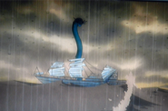 Sea serpent on ship