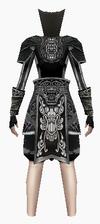 Fujin-black wolf hunter armor-female-back