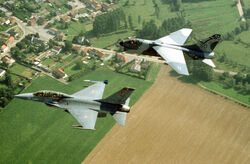 Belgian F-16B and South Dakota ANG A-7D 1988