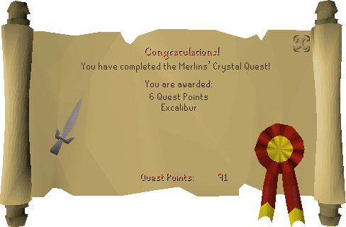 Merlin's Crystal reward scroll