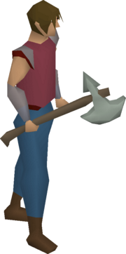 Leaf-bladed battleaxe equipped