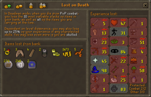 Deadman mode - Lost on Death interface