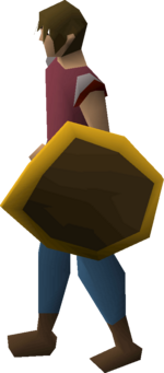 Wooden shield (g) equipped