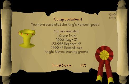 King's Ransom reward scroll