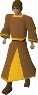 Gold-trimmed monk's robes equipped
