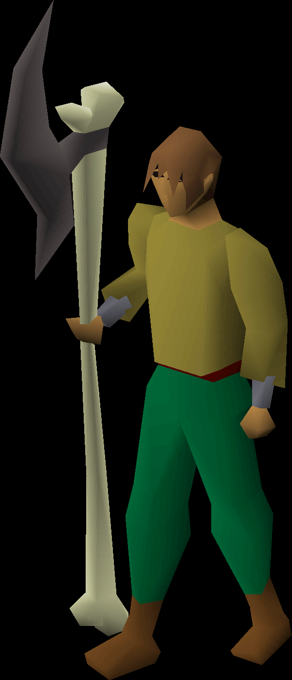 Bone spear equipped