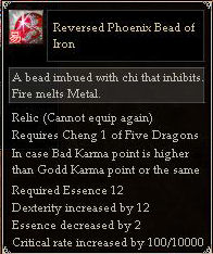 Reversed Phoenix Bead of Iron