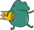 Frog carrying crown