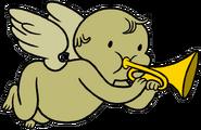 Cherub with trumpet