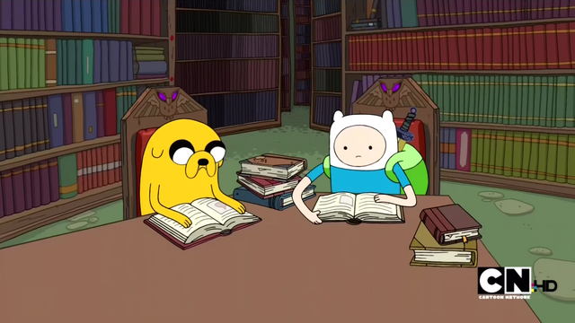 File:S2e15 finn and jake reading in library.png