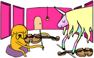 Jake plays viola to Lady Rainicorn