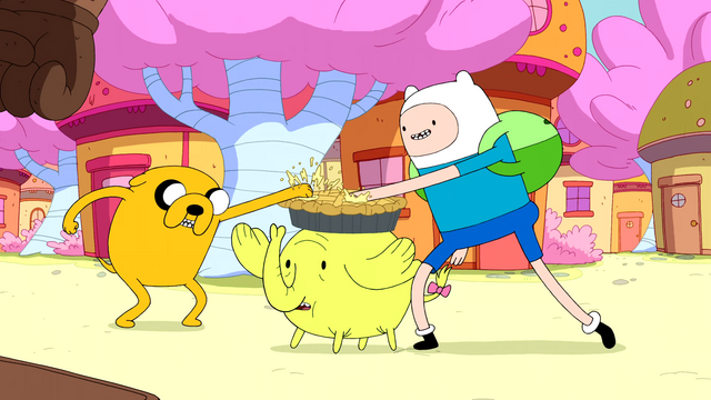 File:S5e3 Finn and Jake sticking thumbs in apple pie.png