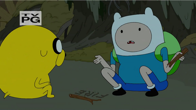 File:S4 E23 Finn and Jake having no idea how to start a fire.png