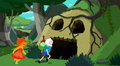 S5 e12 Finn and Flame Princess running into a dungeon.PNG