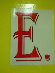 Big red E in school sign