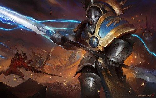 File:Protector Hallowed Knights vs Khorne Daemons Illustration.jpg