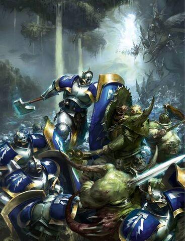 File:Hallowed Knights fighting Nurgle in Ghyran Colour Illustration.jpg