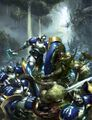 Hallowed Knights fighting Nurgle in Ghyran Colour Illustration.jpg