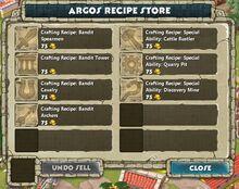 Argos Recipe Store Panel