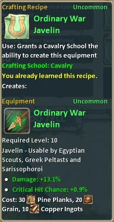 Craft ordinary war javelin