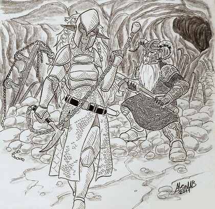 Drow and dwarf duel by shabazik-d3aajrg