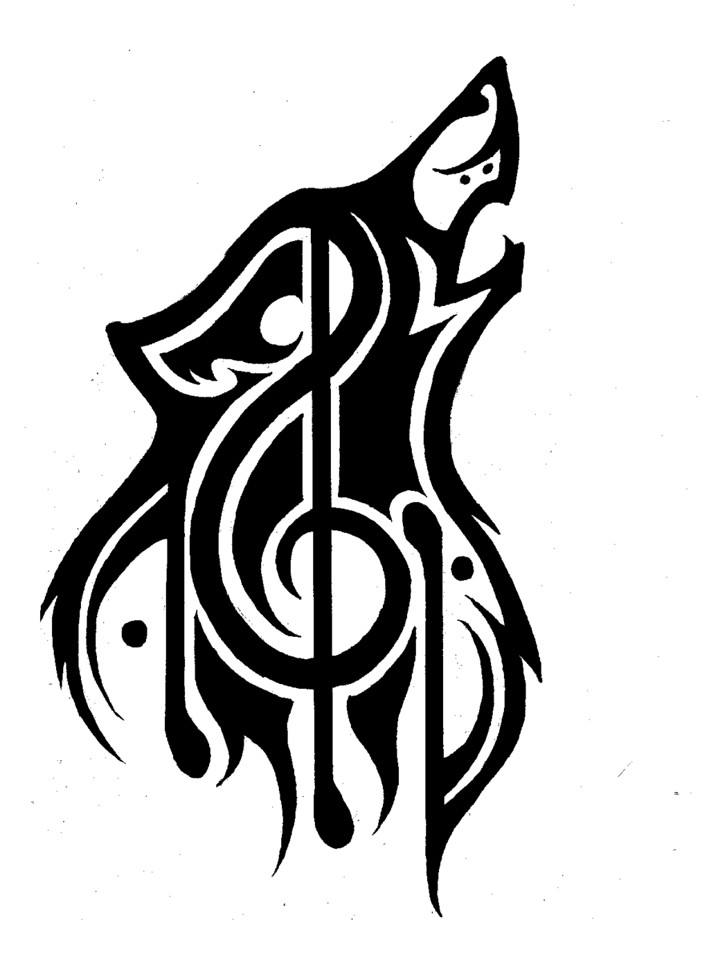Image tribal wolf music theme tattoo refined by p d kiko animal jam stories wiki - Black n white designs ...