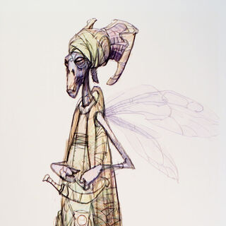 Concept art of a female Geonosian.