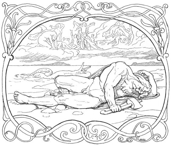 File:The death of Thor and Jörmungandr by Frølich.jpg